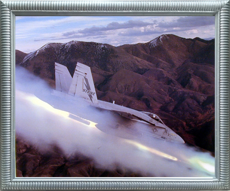 Impact Posters Gallery Framed Wall Decor Mcdonnell Douglas FA-18 Hornet (Flying High) Jet Aircraft Silver Framed Picture Art Print
