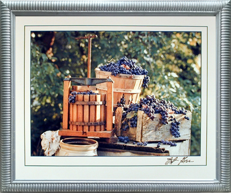Impact Posters Gallery Framed Wall Decor Country Home Grape Press Gore Wine Still Life Silver Framed Picture Art Print