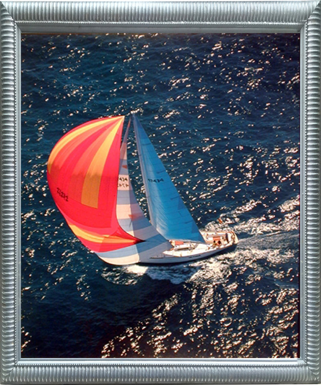 Boating Seascape Framed Wall Bedroom Decor Sailboat Phil Wallick Ocean Scenic Art Print Poster (16x20) (Silver)