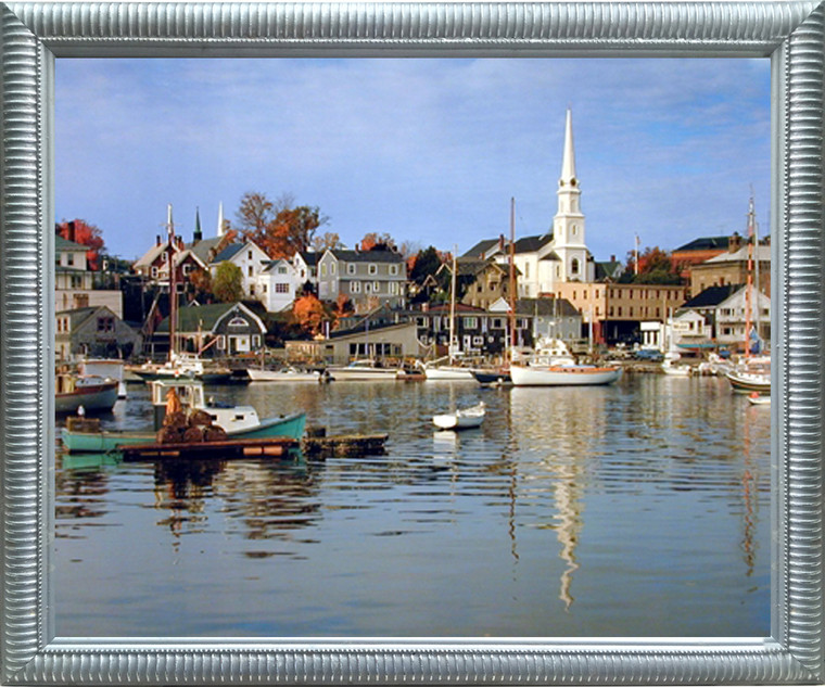 Impact Posters Gallery Camden Harbour River Boating Scenic Wall Picture Silver Framed Art Print