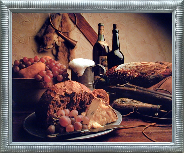 Impact Posters Gallery Wine & Fruit Pheasant Still Life Kitchen Wall Decor Silver Framed Picture Art Print