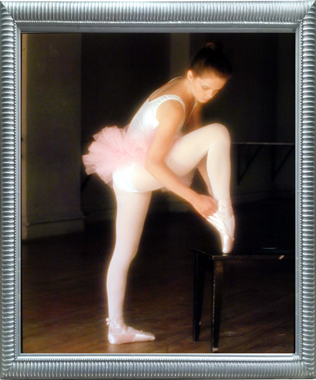 Impact Posters Gallery Ballerina Ballet Framed Wall Bedroom Decor Adjusting Toe Shoe FPG Music Dance Silver Picture Art Print