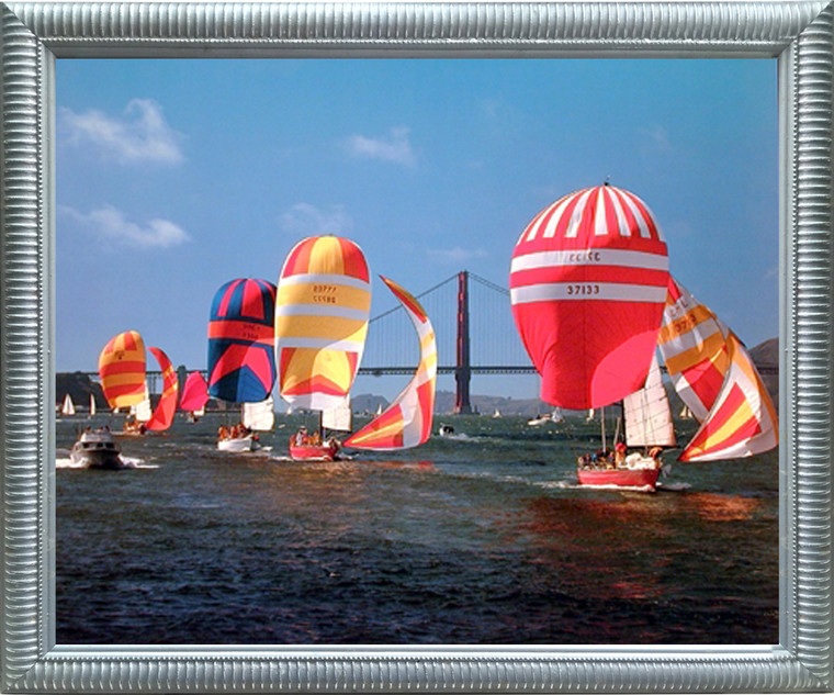 Impact Posters Gallery Framed Wall Decor Sailboats Yuschenkoff Ocean Boating Scenic Silver Framed Picture Art Print