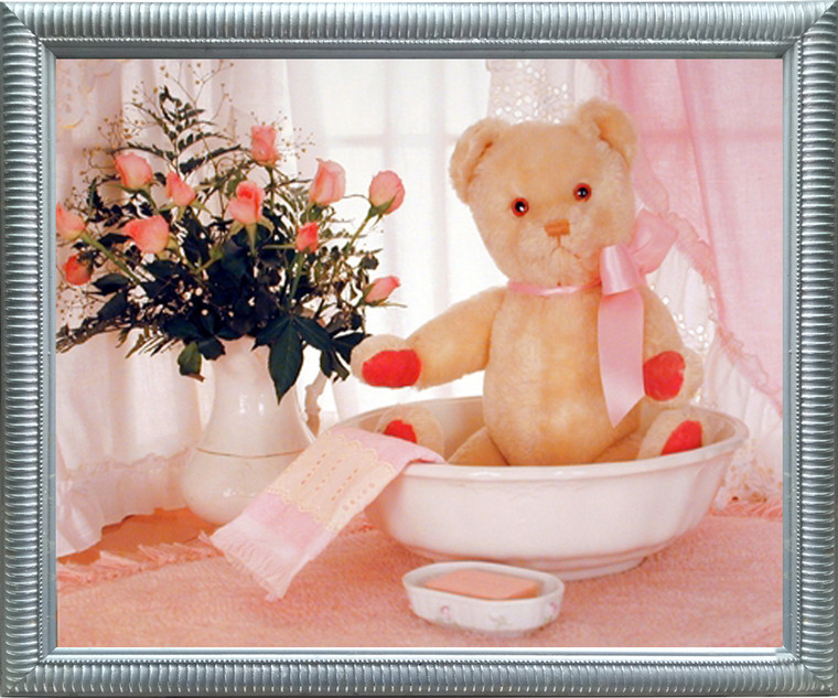 Impact Posters Gallery Teddy Bear in Washbowl & Flowers Cute Kids Room Wall Decor Silver Picture Framed Art Print