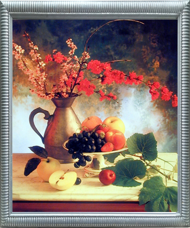 Impact Posters Gallery Framed Wall Decor Flowers in Vase & Fruit (Grapes & Apple) Still Life Silver Picture Art Print