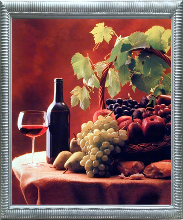 Impact Posters Gallery Wine & Fruit (Grapes and Apples) Still Life Kitchen Silver Picture Art Print Framed Wall Decoration