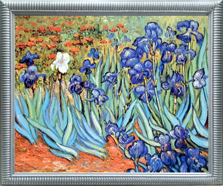 Impact Posters Gallery Vincent Van Gogh Irises Garden Flower Floral Silver Art Print Framed Wall Decoration Picture (20x24)