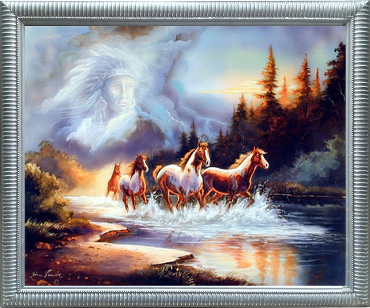 Impact Posters Gallery Horse Runs in Lake with Indian Spirit Silver Picture Art Print Framed Wall Decoration