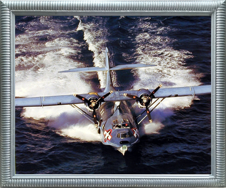 Impact Posters Gallery Framed Wall Decor Aviation Framed Poster - WWII PBT5A Cataline Patrol Bomber Military Silver Picture Art Print