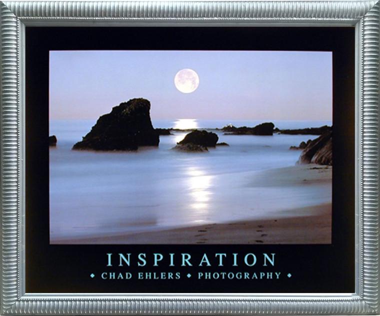 Impact Posters Gallery Ocean Full Moon Laguna Beach Inspirational Scenery Landscape Silver Art Print Framed Wall Decoration (20x24)