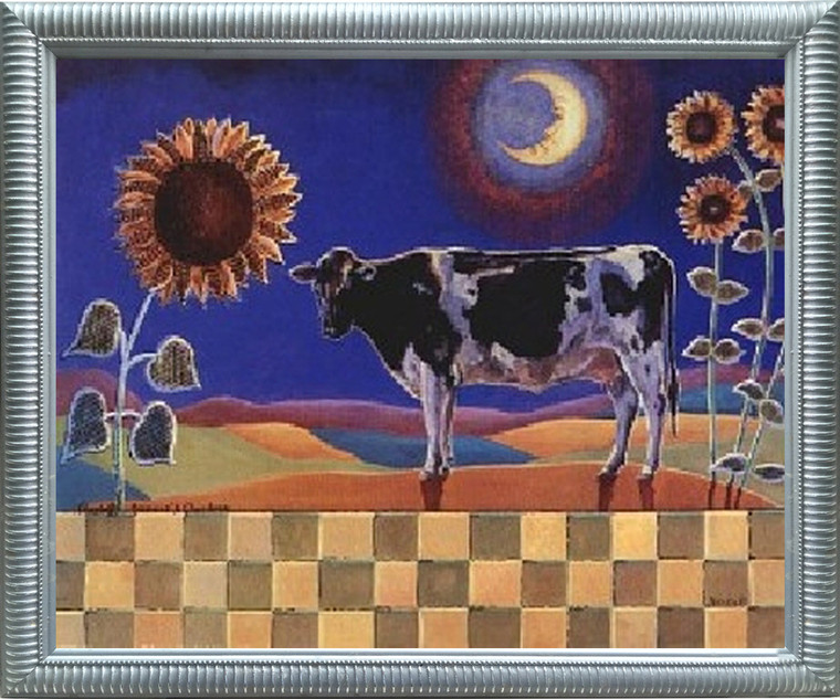 Impact Posters Gallery Country Cow and Sunflowers Floral Cow Bathroom Silver Art Print Framed Wall Decoration Picture