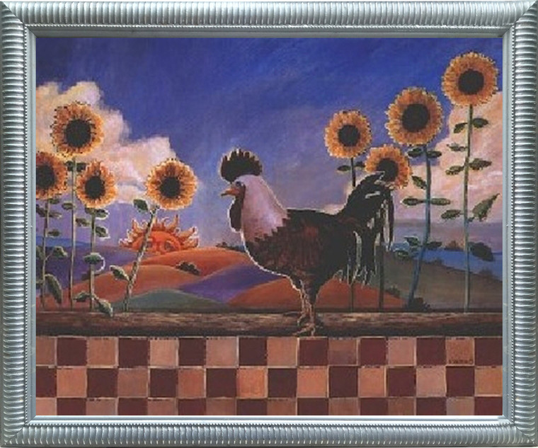Impact Posters Gallery Framed Wall Picture Decor Country Sunflowers and Rooster Chicken Silver Art Print