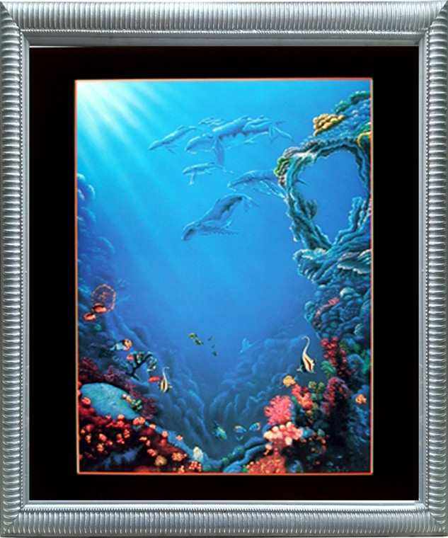 Framed Wall Decoration Tropical Fish and Coral Reef Underwater Ocean Sea Silver Art Print (20x24)