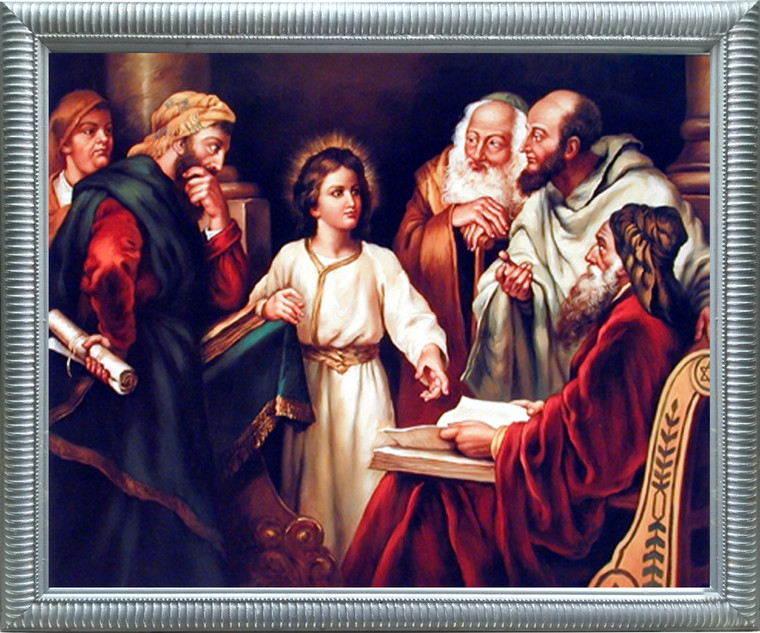 Impact Posters Gallery Young Christ with Elders Religion & Spirituality Silver Art Print Framed Wall Decoration (20x24)
