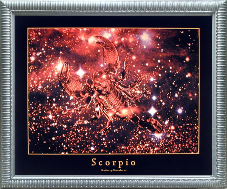 Impact Posters Gallery Astrology Scorpio Oct 24 to Nov 22 Zodiac Silver Framed Picture Art Print