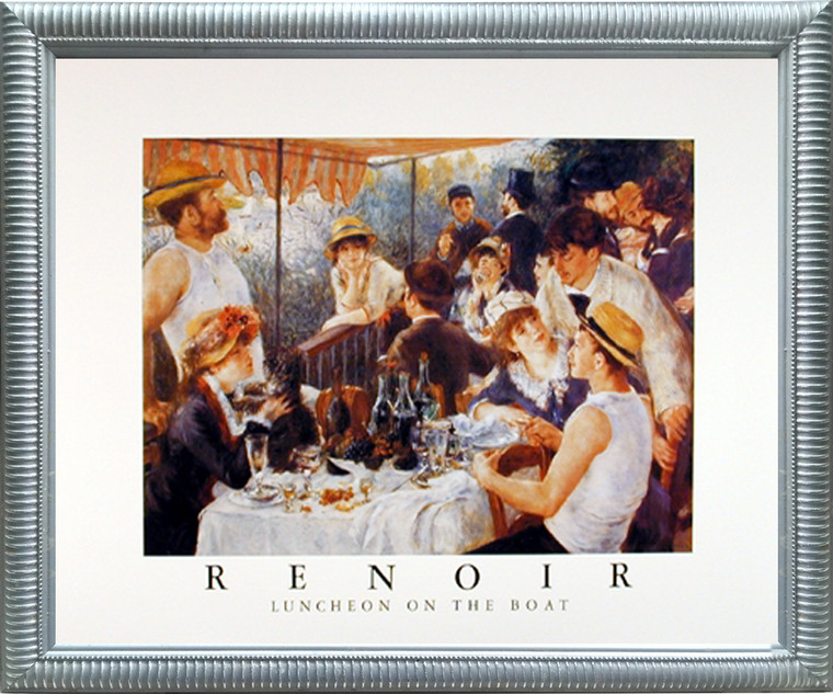 Framed Wall Decor Picture Renoir Luncheon on The Boat Party Impressionist Silver Art Print (20x24)
