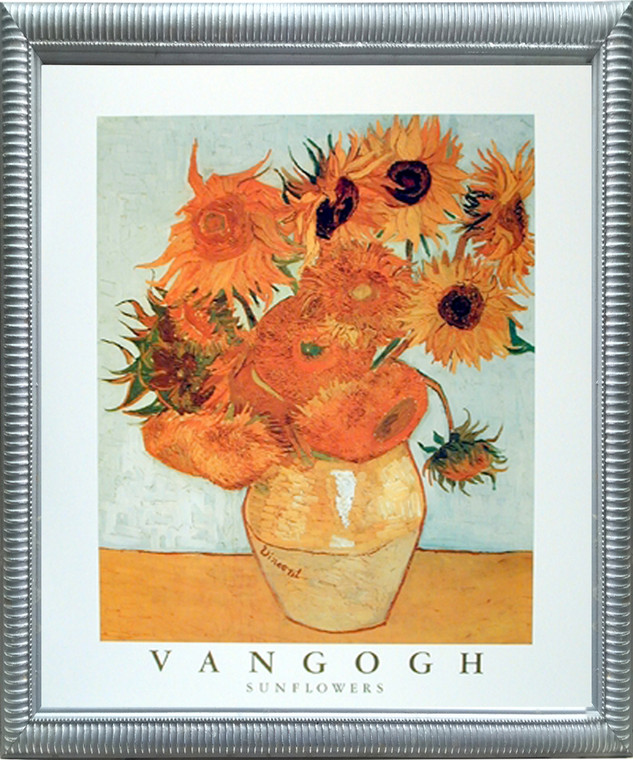 Impact Posters Gallery Vincent Van Gogh Sunflowers in Vase Floral Silver Art Print Framed Wall Decor Picture (20x24)