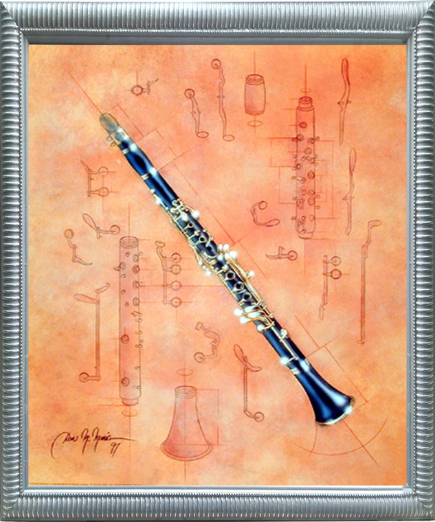Framed Wall Decoration Fine Arts Musical Instrument Clarinet Dan McManis Picture Silver Art Print Poster (20x24)