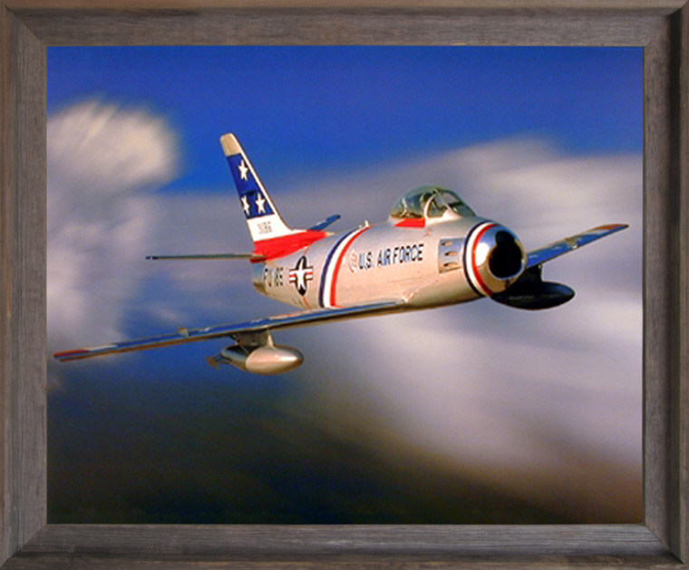 Framed Wall Picture Decor Aviation Military Poster - F-86 Sabre Jet Aircraft Barnwood Art Print (19x23)