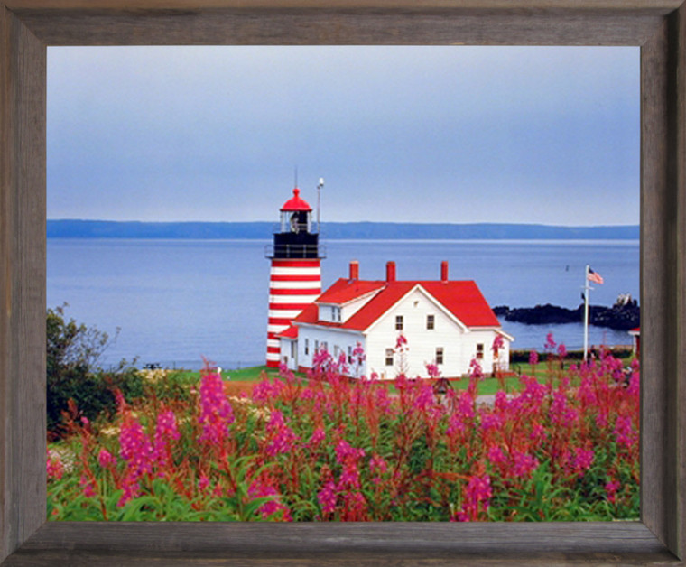 West Quoddy Head Lighthouse Seascape Nautical Picture Wall Decor Barnwood Framed Art Print (19x23)
