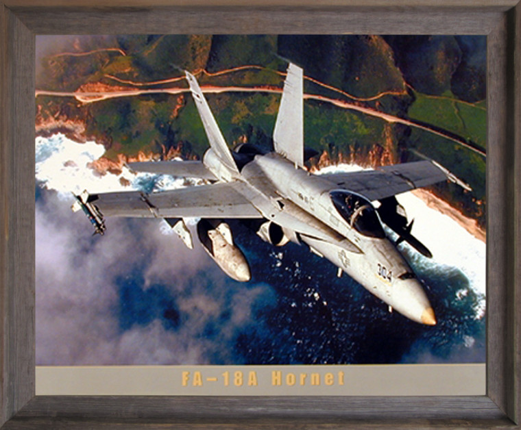 Framed Wall Decor FA-18A Hornet Jet Military Aviation Aircraft Picture Barnwood Art Print (19x23)