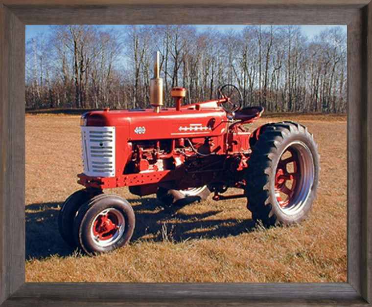 Framed Wall Picture Decor 1955 Red Farmall M 400 Vintage Farming Tractor Barnwood Art Print (19x23)
