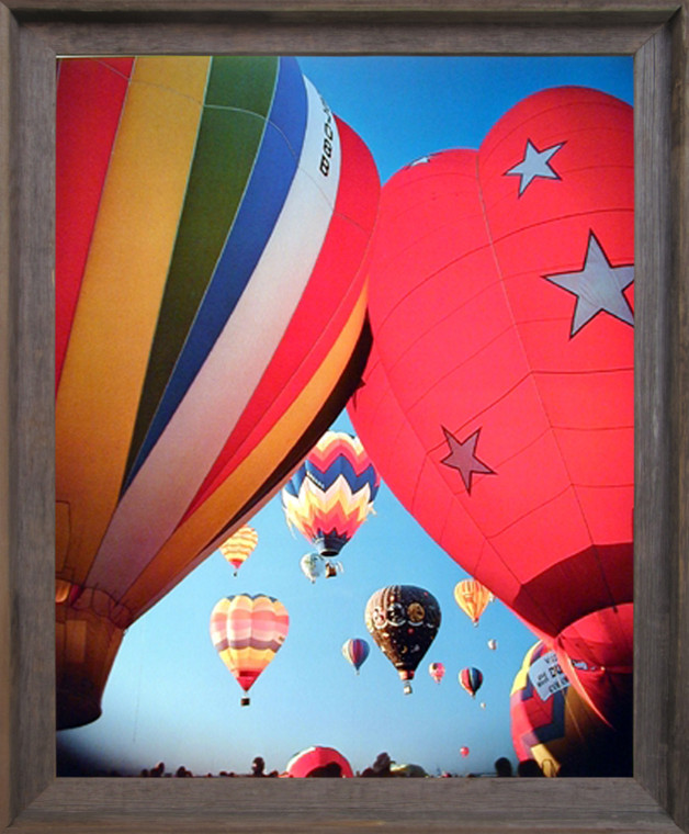 Impact Posters Gallery Hot Air Balloons Fiesta in Sky Kids Room Barnwood Picture Art Print Framed Wall Decor (19x23)