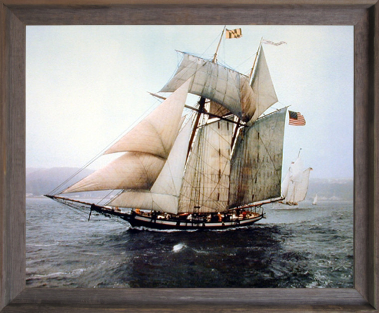 Vintage Sailboat Framed Wall Home Decor The Pride of Baltimore Sailing Vessel Ship Barnwood Art Print Picture (19x23)