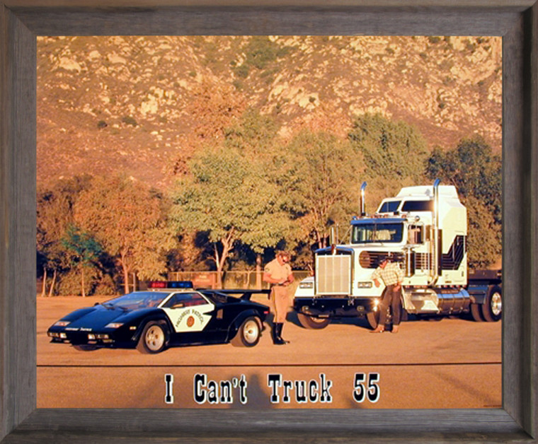 Framed Wall Decoration I Can't Truck 55 Funny Greg Smith Police Barnwood Picture Art Print (19x23)