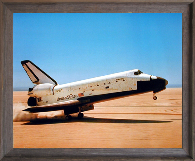 NASA Columbia Touching Down Space Shuttle Wall Decor Barnwood Framed Picture Art Print (19x23)