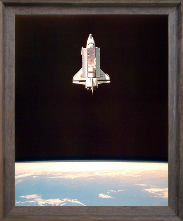 Impact Posters Gallery Space Shuttle in Space NASA Educational Barnwood Picture Art Print Framed Wall Decor (19x23)