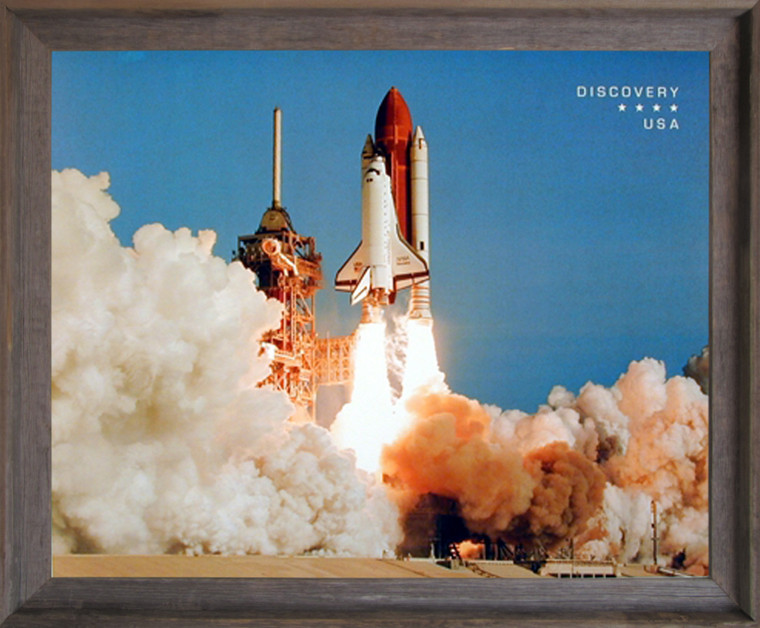 Impact Posters Gallery NASA Space Shuttle Blasting Off Wall Barnwood Framed Picture Art Print (19x23)