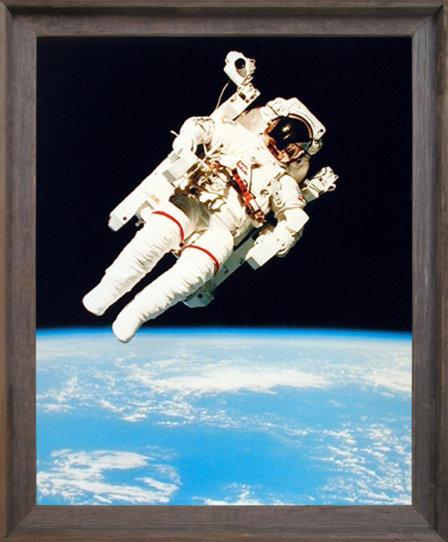 Framed Wall Decor NASA Astronaut in Space Educational and Motivational Barnwood Picture Art Print (19x23)