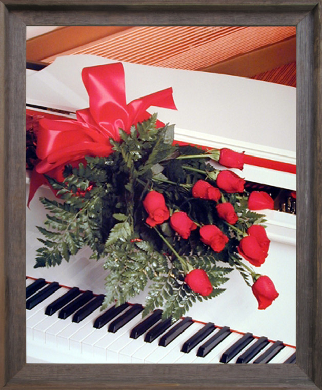 Red Roses on Piano Musical Instrument Wall Decor Barnwood Framed Picture Art Print (19x23)