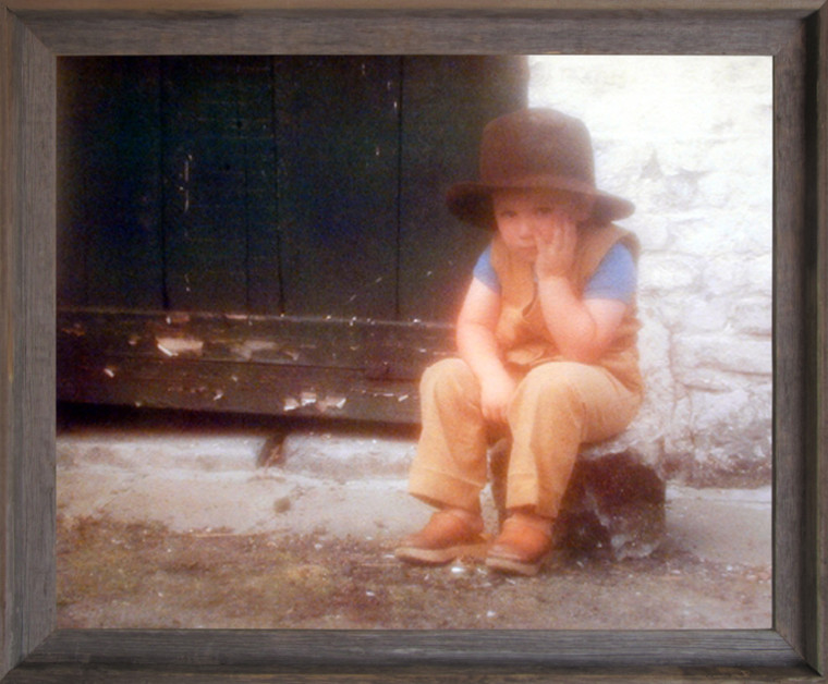 Impact Posters Gallery Picture Boy Pondering on Stump Cute Kid Inspirational Barnwood Art Print Framed Wall Decoration(19x23)