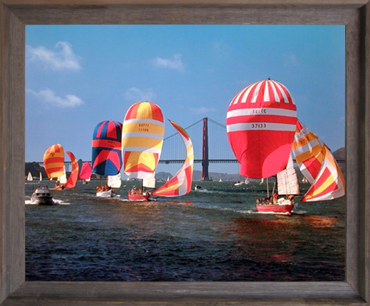 Impact Posters Gallery Sailboats Yuschenkoff Ocean Boating Scenic Barnwood Picture Art Print Framed Wall Decoration(19x23)