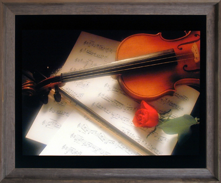 Impact Posters Gallery Violin & Music Sheet Red Rose Flower Picture Barnwood Art Print Framed Wall Decoration (19x23)