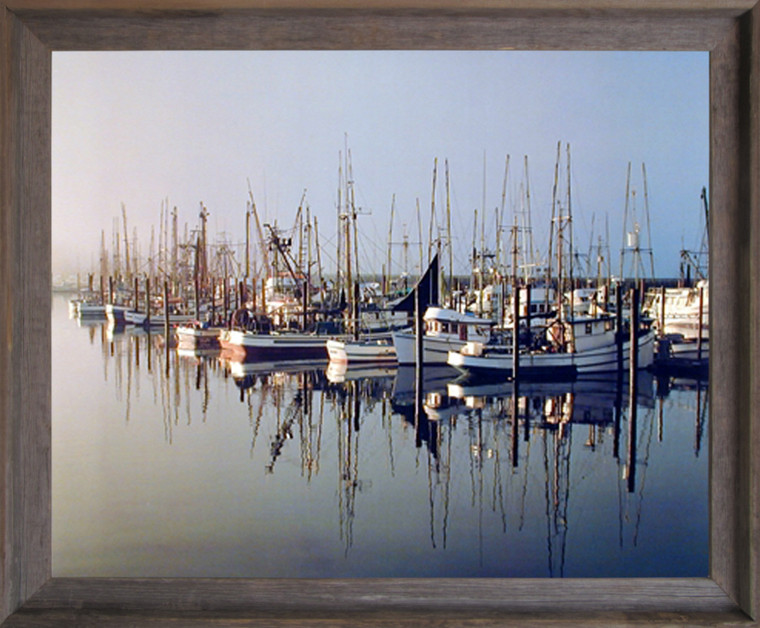 Impact Posters Gallery Framed Wall Picture Decor Docked Boats Craig Tuttle Ocean Scenic Landscape Barnwood Art Print (19x23)