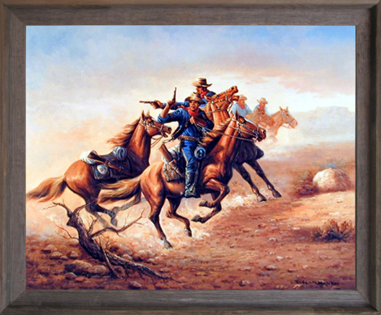 Impact Posters Gallery Civil War Blue Soldiers Shoot Out Barnwood Picture Art Print Framed Wall Decoration (19x23)