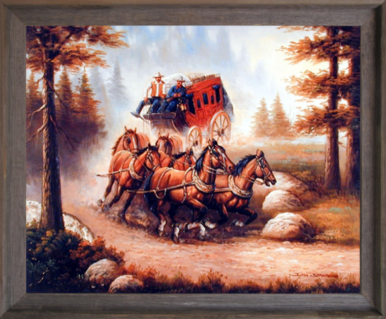 Western Cowboy with Old Red Stagecoach and Running Horses Wall Decor Barnwood Framed Picture Art Print (19x23)