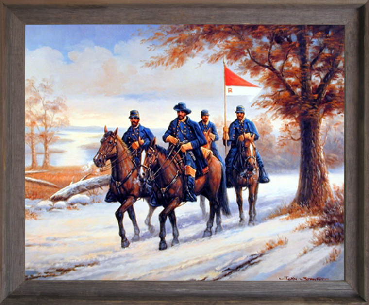 Impact Posters Gallery Civil War Blue Soldier on Horses Barnwood Art Print Framed Wall Decoration Picture (19x23)