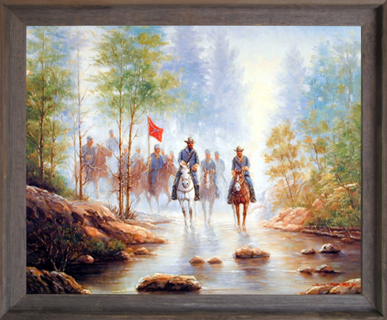 Impact Posters Gallery Framed Wall Decor Picture Civil War Grey Soldier on Horses Barnwood Art Print (19x23)