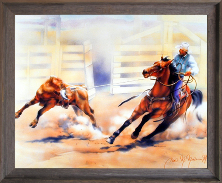 Western Rodeo Cowboy Calf Roping Horse Riding Wall Decor Barnwood Framed Picture Art Print (19x23)