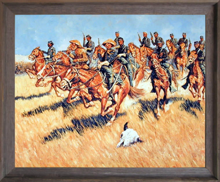 Impact Posters Gallery Western Cavalry Into Battle Wild West Barnwood Framed Picture Art Print (19x23)