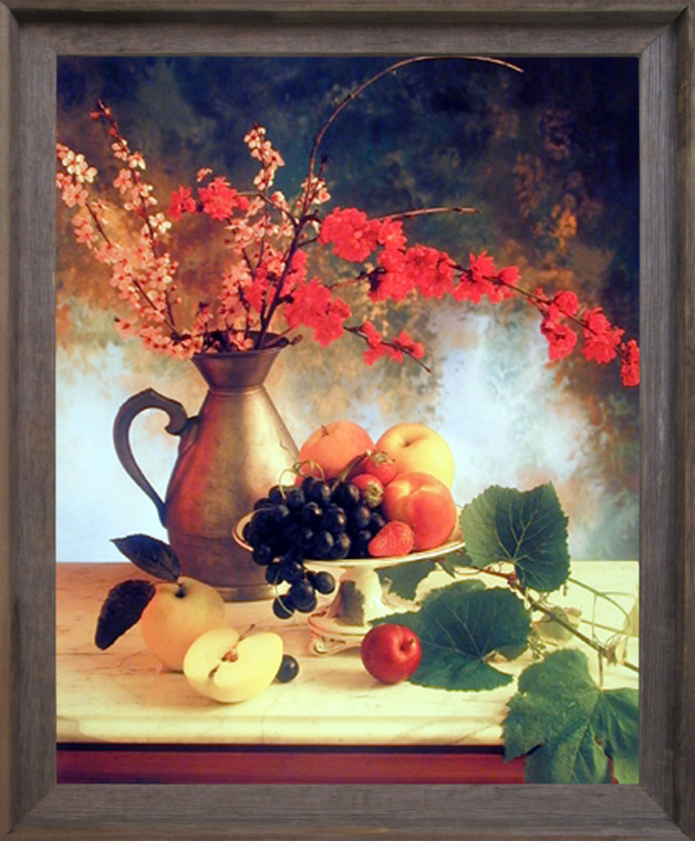 Impact Posters Gallery Framed Wall Decor Flowers in Vase & Fruit (Grapes & Apple) Still Life Barnwood Picture Art Print (19x23)