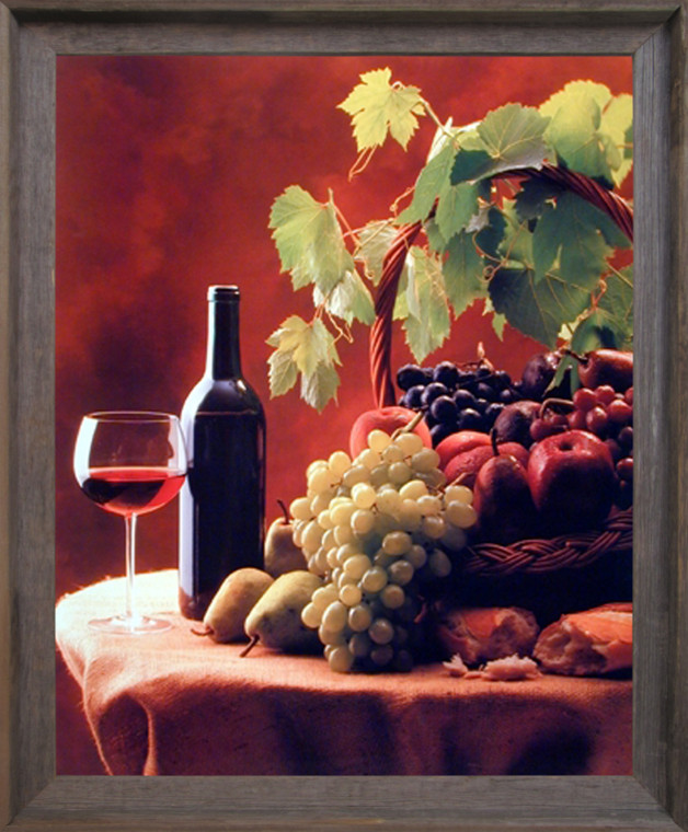 Impact Posters Gallery Framed Wall Decor Wine & Fruit (Grapes and Apples) Still Life Barnwood Framed Picture Art Print (19x23)