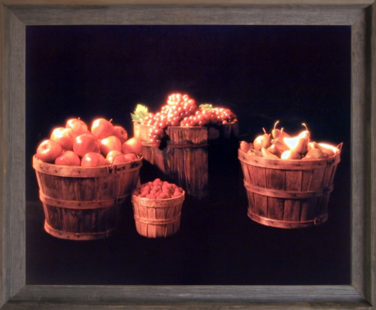 Framed Wall Decoration Picture Baskets of Fruit (Apple, Grape & Pear) Still Life Barnwood Art Print Poster (19x23)