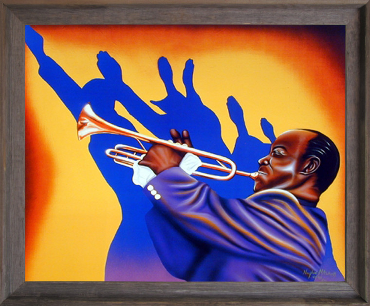 Framed Wall Picture Decor Birth of the Blues Trumpet Man Music Barnwood Art Print Poster (19x23)