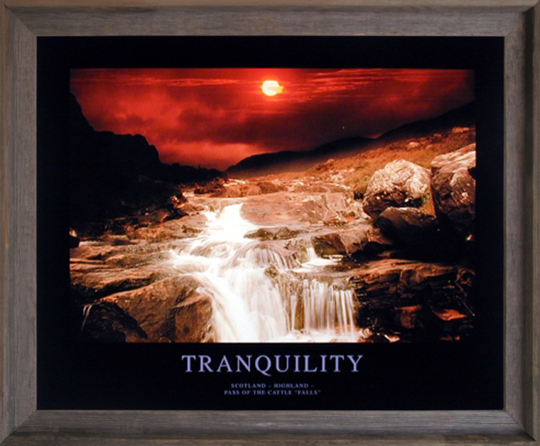 Impact Posters Gallery Tranquility Scotland Highland Motivational Scenery Picture Barnwood Art Print Framed Wall Decoration (19x23)