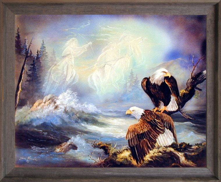 Native American Ghost Warriors and Eagle Barnwood Picture Art Print Framed Wall Decoration (19x23)